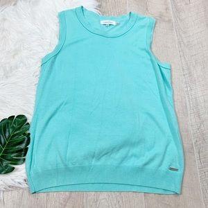 Calvin Klein Blue Knit Sleeveless Blouse Top D1309